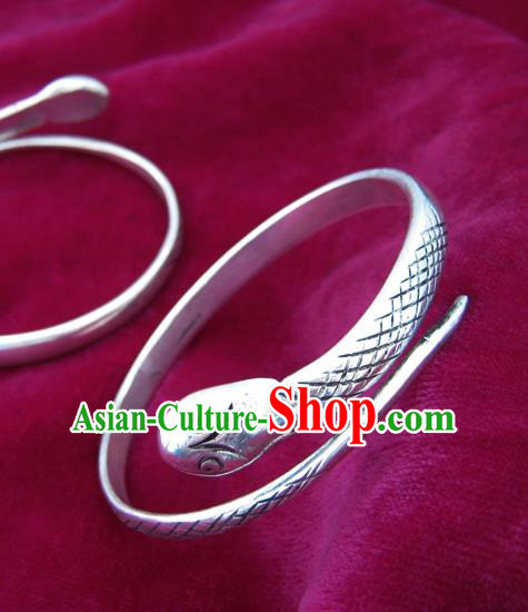 Chinese Miao Sliver Ornaments Snake Bracelet Traditional Hmong Handmade Sliver Bangle for Women