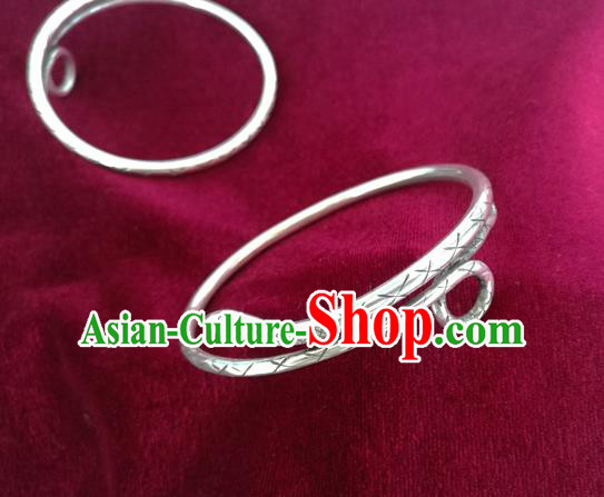 Chinese Miao Sliver Ornaments Bracelet Traditional Hmong Handmade Sliver Snake Bangle for Women