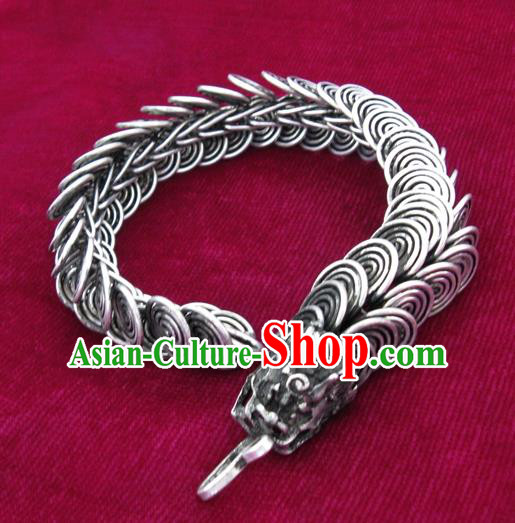 Chinese Miao Sliver Ornaments Dragon Head Bracelet Traditional Hmong Handmade Sliver Bangle for Women