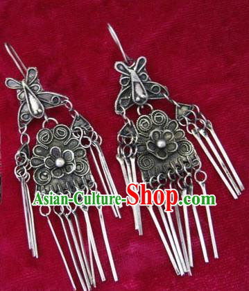 Chinese Handmade Miao Sliver Butterfly Exaggerated Eardrop Hmong Nationality Earrings for Women