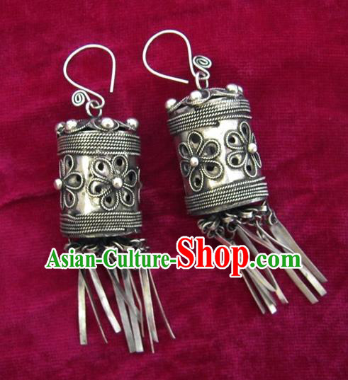 Chinese Handmade Miao Sliver Exaggerated Eardrop Hmong Nationality Earrings for Women