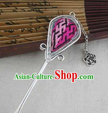 Traditional Chinese Miao Nationality Sliver Hair Clip Hanfu Embroidered Hairpins Hair Accessories for Women