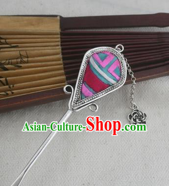 Traditional Chinese Miao Nationality Sliver Tassel Hair Clip Hanfu Embroidered Hairpins Hair Accessories for Women