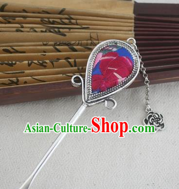 Traditional Chinese Miao Nationality Sliver Tassel Hair Clip Hanfu Embroidered Blue Hairpins Hair Accessories for Women