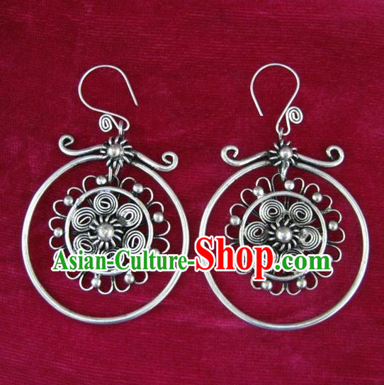 Chinese Handmade Miao Sliver Flower Earrings Hmong Nationality Eardrop Pendant for Women