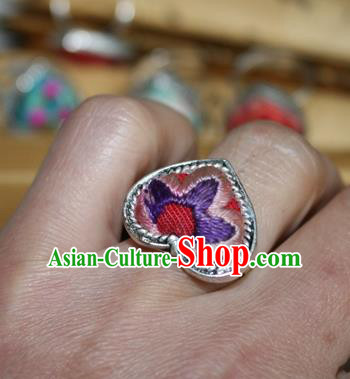 Chinese Miao Sliver Ornaments Rings Traditional Hmong Embroidered Pink Finger Ring for Women