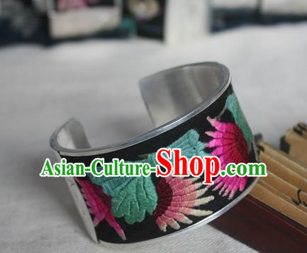 Chinese Miao Sliver Ornaments Bracelet Traditional Hmong Handmade Sliver Embroidered Black Bangle for Women