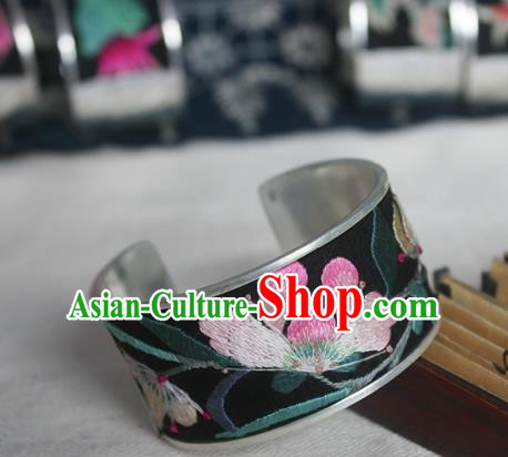 Chinese Miao Sliver Ornaments Bracelet Traditional Hmong Handmade Sliver Embroidered Orchid Bangle for Women