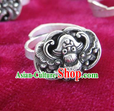 Chinese Traditional Miao Sliver Ornaments Carving Bat Ring Traditional Hmong Sliver Rings for Women