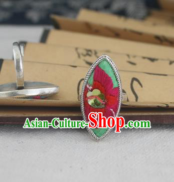 Chinese Traditional Miao Sliver Ornaments Willow Leaf Ring Traditional Hmong Embroidered Rings for Women