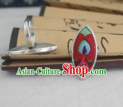 Chinese Traditional Miao Sliver Willow Leaf Ring Traditional Hmong Embroidered Rings for Women