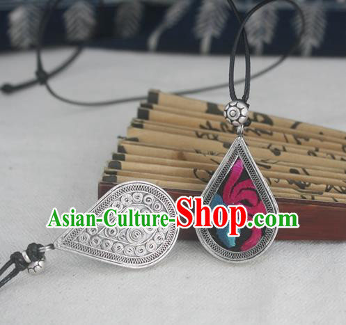 Chinese Traditional Miao Sliver Embroidered Black Necklace Traditional Hmong Necklet for Women