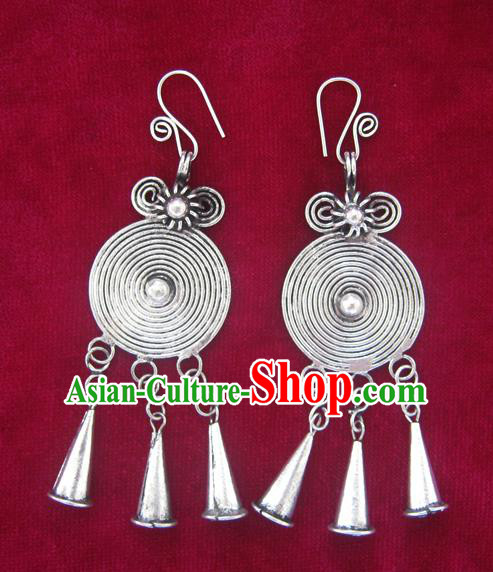 Chinese Traditional Miao Sliver Earrings Traditional Hmong Tassel Eardrop for Women