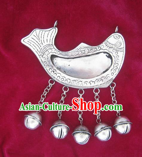 Chinese Miao Sliver Ornaments Carving Fish Necklace Traditional Hmong Necklet Pendant for Women