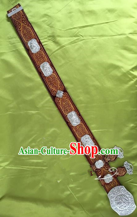 Traditional Chinese Mongol Nationality Leather Waistband Mongolian Robe Green Belts for Men
