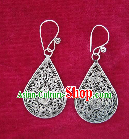 Chinese Miao Sliver Ornaments Earrings Traditional Hmong Sliver Eardrop for Women