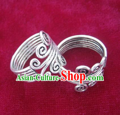 Chinese Miao Sliver Ring Ornaments Traditional Hmong Sliver Finger Rings for Women
