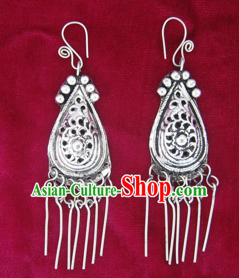 Chinese Miao Sliver Tassel Earrings Ornaments Traditional Hmong Sliver Eardrop for Women