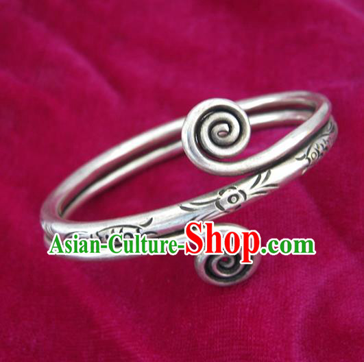 Handmade Chinese Miao Sliver Ornaments Carving Bracelet Traditional Hmong Exaggerated Sliver Bangle for Women