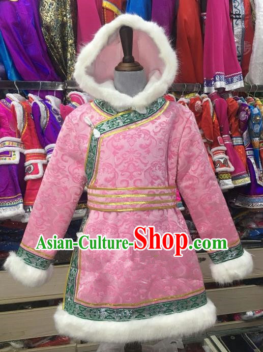 Chinese Traditional Mongol Nationality Girls Pink Mongolian Robe, China Mongolian Minority Folk Dance Ethnic Costume for Kids