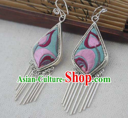 Traditional Chinese Miao Sliver Embroidered Earrings Ornaments Hmong Sliver Eardrop for Women