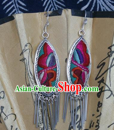 Traditional Chinese Miao Sliver Earrings Ornaments Hmong Sliver Embroidered Eardrop for Women