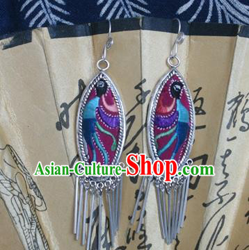 Traditional Chinese Miao Sliver Earrings Ornaments Hmong Sliver Embroidered Phoenix Eardrop for Women