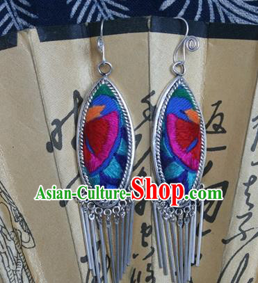 Traditional Chinese Miao Sliver Earrings Ornaments Hmong Embroidered Blue Eardrop for Women