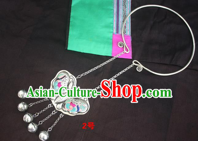 Traditional Chinese Miao Sliver Carving Butterfly Necklace Ornaments Hmong Embroidered Longevity Lock for Women