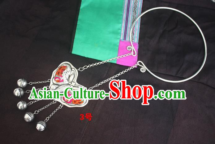 Traditional Chinese Miao Sliver Carving Butterfly Necklace Hmong Ornaments Embroidered Longevity Lock for Women