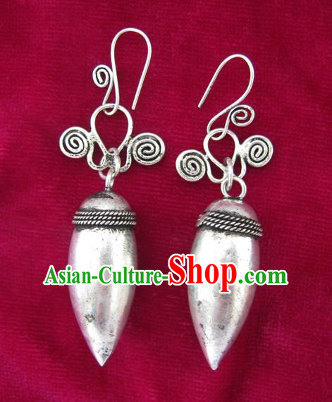 Chinese Miao Sliver Eardrop Ornaments Traditional Hmong Sliver Earrings for Women
