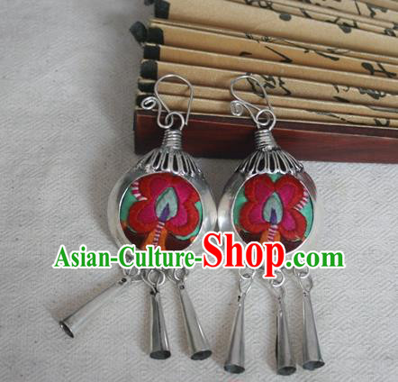 Traditional Chinese Miao Sliver Embroidered Earrings Hmong Ornaments Eardrop for Women