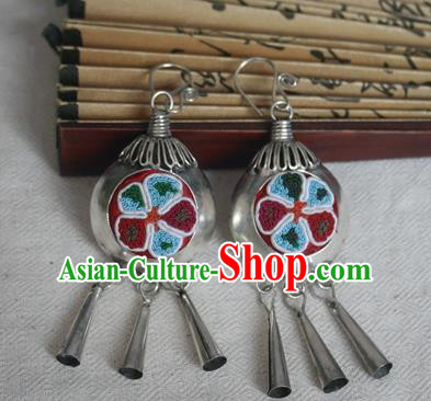 Traditional Chinese Miao Sliver Embroidered Earrings Hmong Ornaments Tassel Eardrop for Women