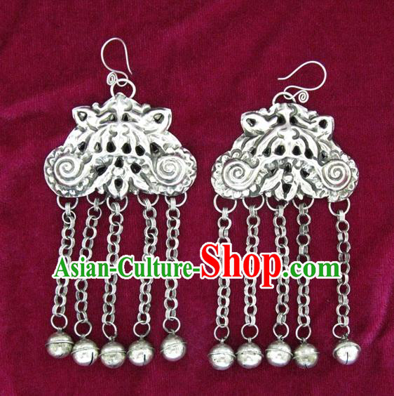 Traditional Chinese Miao Sliver Earrings Hmong Ornaments Bells Tassel Eardrop for Women