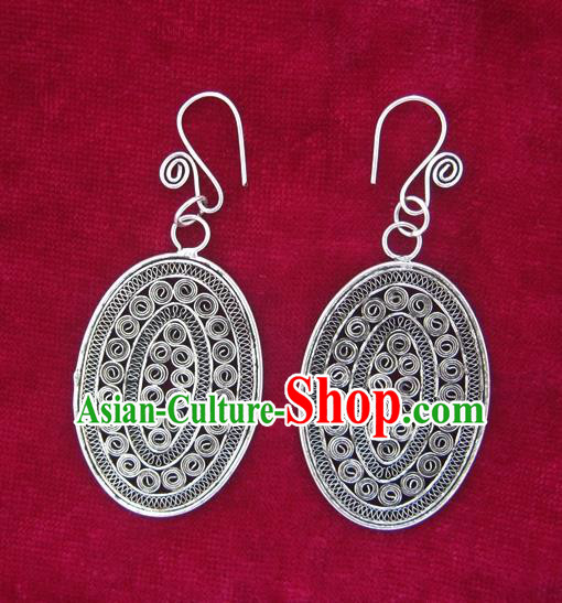 Traditional Chinese Miao Sliver Earrings Hmong Ornaments Minority Eardrop for Women
