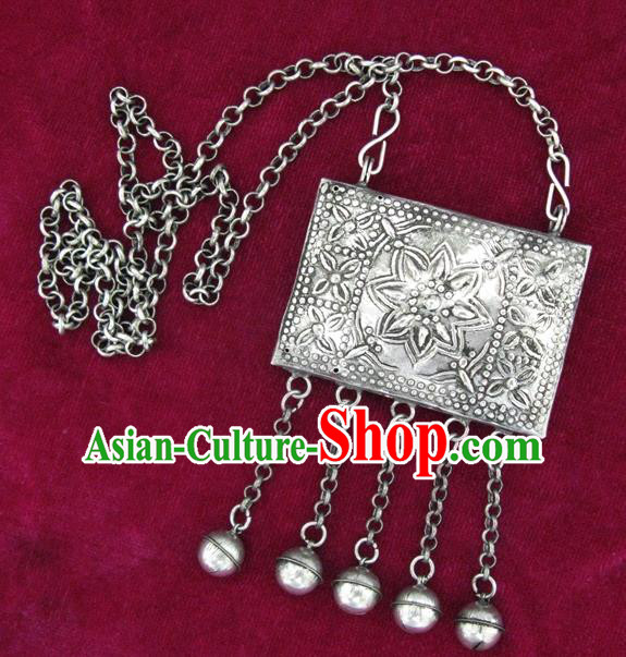 Traditional Chinese Miao Sliver Carving Necklace Hmong Ornaments Minority Longevity Lock for Women