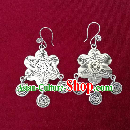 Chinese Miao Sliver Traditional Earrings Hmong Ornaments Minority Headwear for Women