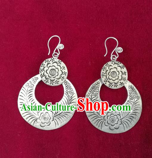 Chinese Miao Sliver Traditional Carving Flower Earrings Hmong Ornaments Minority Headwear for Women