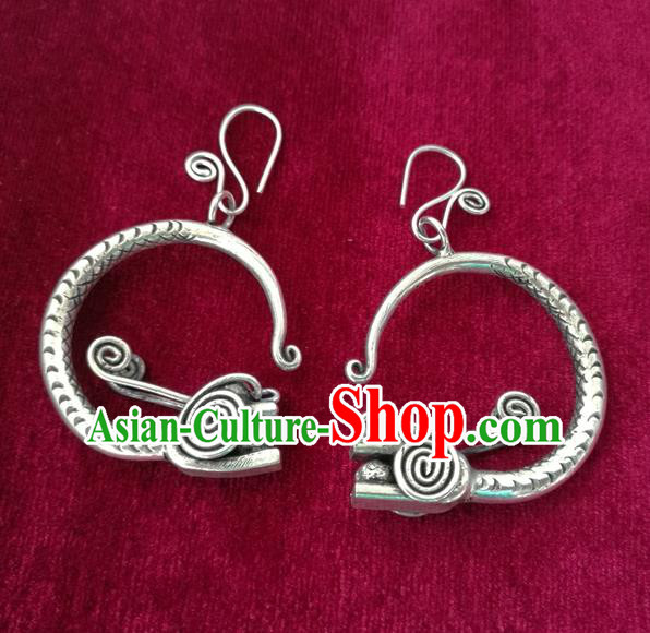 Chinese Miao Sliver Traditional Dragon Head Earrings Hmong Ornaments Minority Headwear for Women