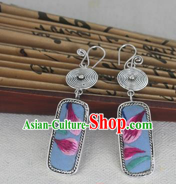 Chinese Miao Sliver Traditional Embroidered Earrings Hmong Ornaments Minority Headwear for Women
