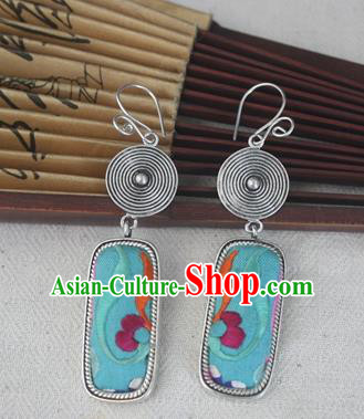 Chinese Miao Sliver Traditional Embroidered Green Earrings Hmong Ornaments Minority Headwear for Women