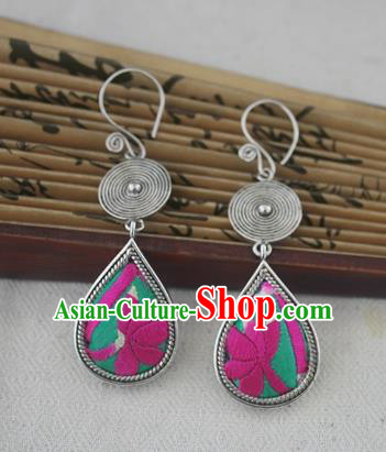 Chinese Miao Sliver Traditional Embroidered Lotus Green Earrings Hmong Ornaments Minority Headwear for Women