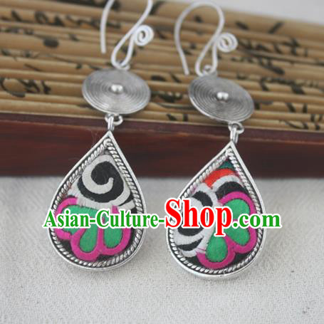 Chinese Miao Sliver Traditional Embroidered Lotus Black Earrings Hmong Ornaments Minority Headwear for Women