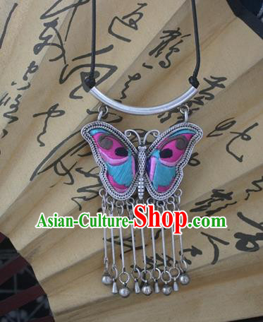 Chinese Miao Sliver Traditional Embroidered Butterfly Necklace Hmong Ornaments Minority Headwear for Women