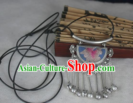 Chinese Miao Sliver Traditional Embroidered Lilac Necklace Hmong Ornaments Minority Headwear for Women