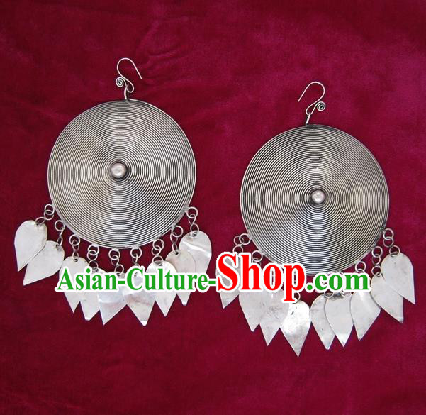 Traditional Chinese Miao Sliver Eardrop Ornaments Hmong Sliver Earrings for Women
