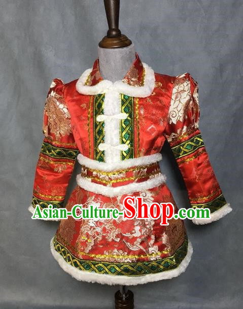 Chinese Traditional Mongol Nationality Red Robe, China Mongolian Minority Folk Dance Ethnic Costume for Kids