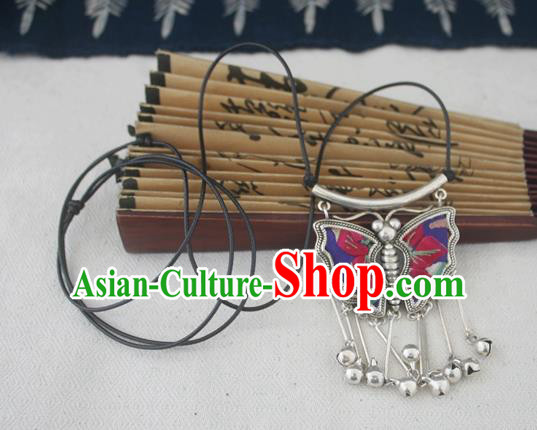Chinese Miao Sliver Traditional Butterfly Necklace Hmong Ornaments Minority Embroidered Longevity Lock Headwear for Women