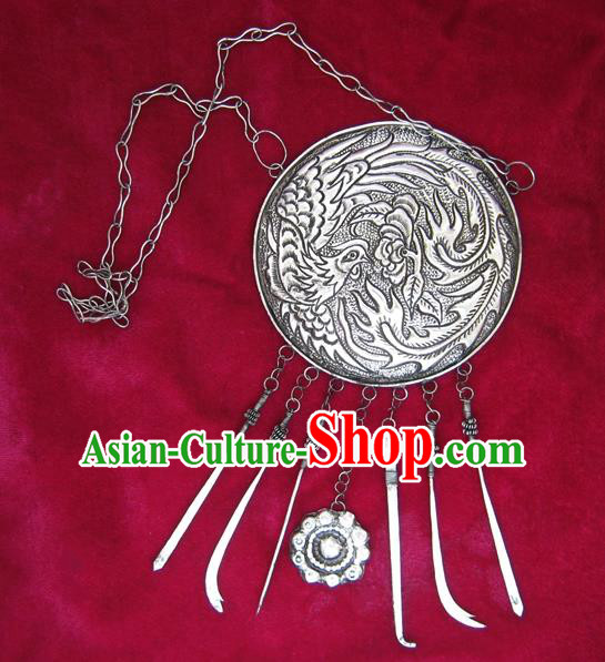 Traditional Chinese Miao Sliver Necklace Ornaments Hmong Sliver Carving Phoenix Necklet for Women