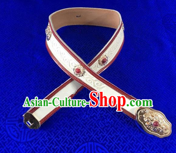 Traditional Chinese Mongol Nationality Waistband Mongolian Robe White Leather Belts for Women